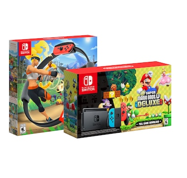 Nintendo Switch Bundle with Ring Fit Adventure and Super Mario U Switch
