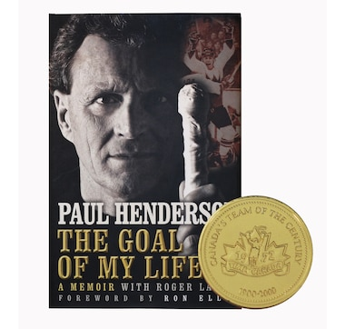 "Paul Henderson Signed ""The Goal of My Life"" Book & Team Canada 72 Gold Coin"