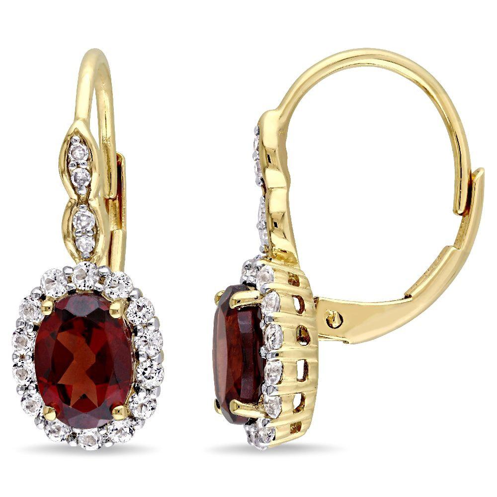 Garnet /& Diamond Accent Huggie Earrings