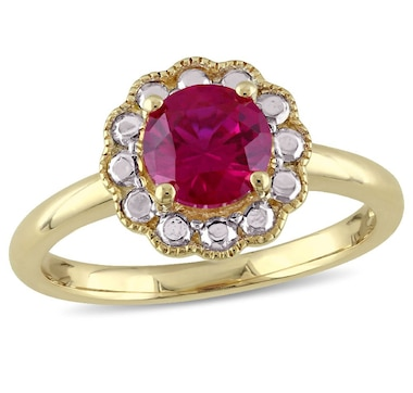Sofia B 10K Yellow Gold Created Ruby Flower Ring