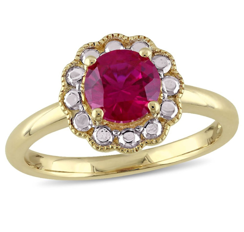 Image 656070.jpg , Product 656-070 / Price $549.99 , Sofia B 10K Yellow Gold Created Ruby Flower Ring from Sofia B on TSC.ca's Jewellery department