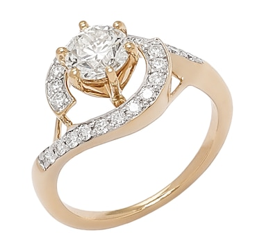 Bridal Collection 14K Gold 1.35ctw Diamond Solitaire Halo Ring