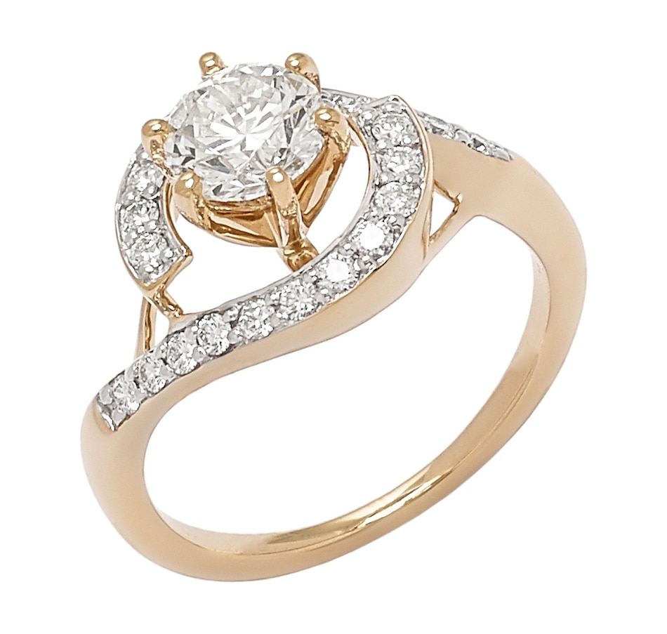 Image 656289_YGL.jpg , Product 656-289 / Price $6,899.33 , Bridal Collection 14K Gold 1.35ctw Diamond Solitaire Halo Ring from Diamond Bridal on TSC.ca's Jewellery department