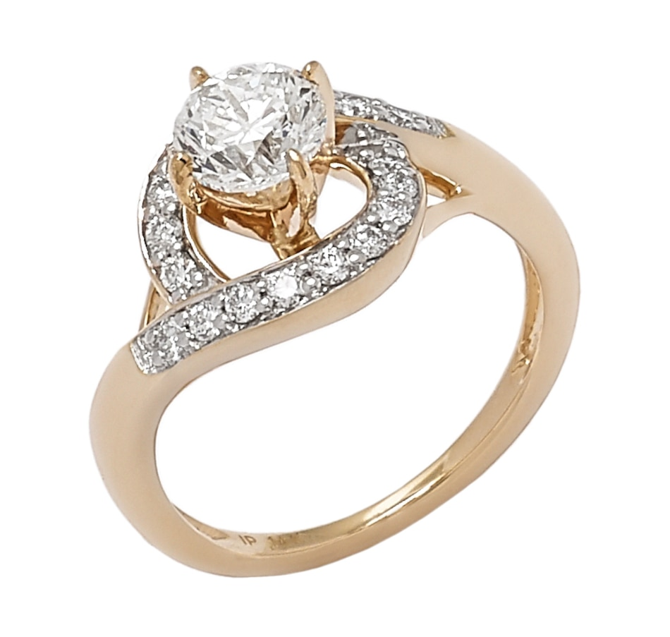 Image 656295_YGL.jpg , Product 656-295 / Price $6,799.33 , Bridal Collection 14K Gold 1.25ctw Diamond Solitaire Fancy Halo Ring from Diamond Bridal on TSC.ca's Jewellery department