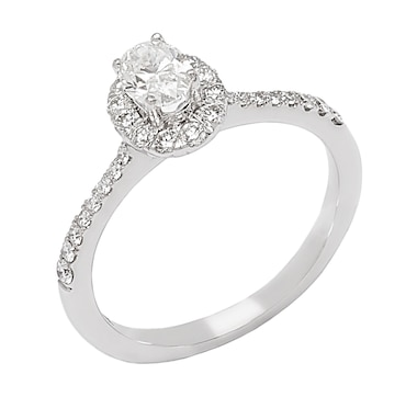 Bridal Collection 14K Gold Oval Top Diamond Halo Ring