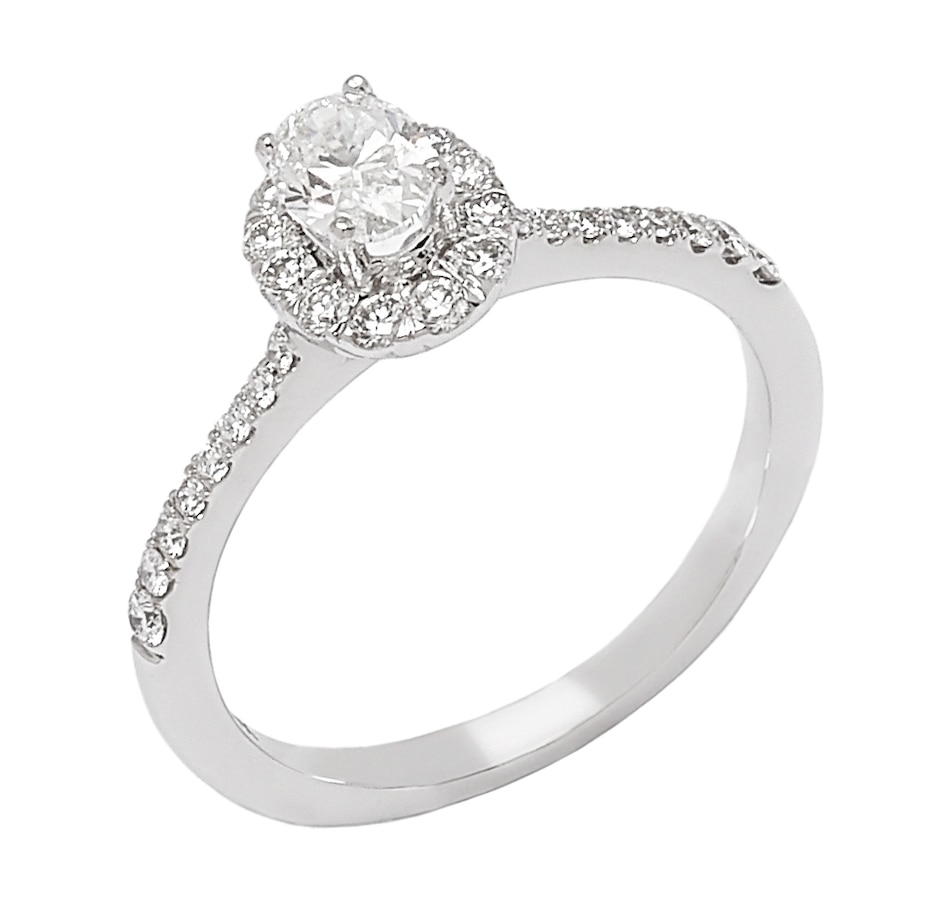 Image 656308_WGL.jpg , Product 656-308 / Price $2,999.88 , Bridal Collection 14K Gold Oval Top Diamond Halo Ring from Diamond Bridal on TSC.ca's Jewellery department