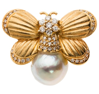 Estate Originals Custom-Made 18K Yellow Gold Butterfly Design Brooch with a South Sea Pearl and Diamond Enhancements