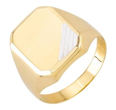 International Gold Two Tone Rectangular Signet Ring