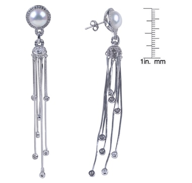 SUGOI Sterling Silver 9-10 mm Button Pearl Tassle Earrings