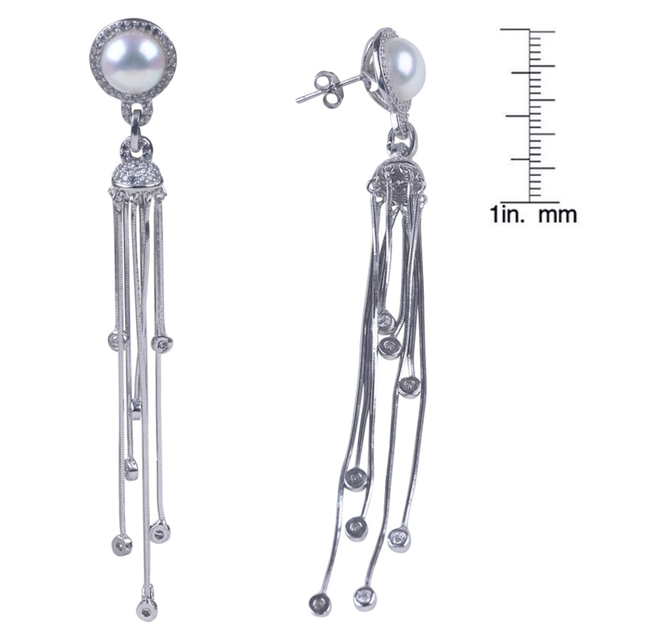 Image 657057.jpg , Product 657-057 / Price $102.99 , SUGOI Sterling Silver 9-10 mm Button Pearl Tassle Earrings from Sugoi Pearls on TSC.ca's Jewellery department