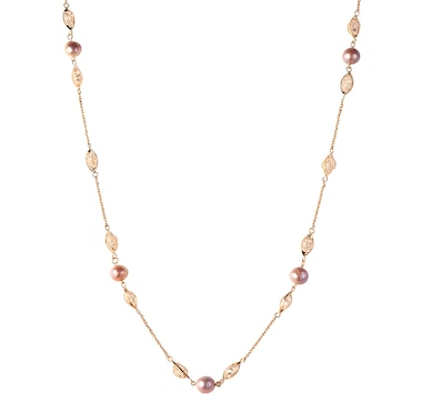 "SUGOI Sterling Silver 35"" Golden Pearl and Crystal Station Necklace"