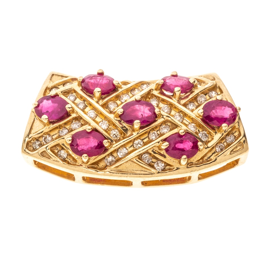 Image 657239.jpg , Product 657-239 / Price $1,695.00 , Estate Originals 14K Yellow Gold Ruby and Diamond Slider Pendant from Estate Originals on TSC.ca's Jewellery department