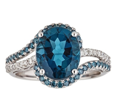 Cirari 10K White Gold London Blue Topaz Ring