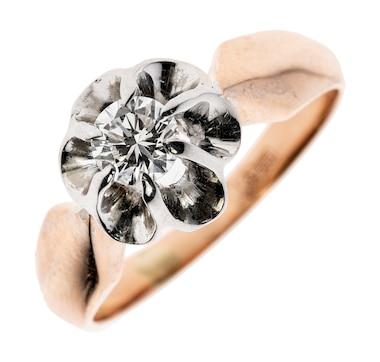 Estate Originals 14K Rose and White Gold 6-Prong .79 Carat Diamond Ring
