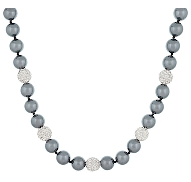 Majestik Pearls Sterling Silver 10-11mm Shell Pearl & Crystal Balls Necklace