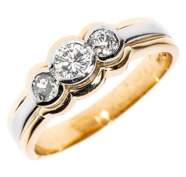 Estate Originals 14K Yellow and White Gold 3-Stone Bezel-Set Diamond Ring