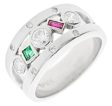 Estate Originals Custom Made 18K White Gold Bezel Set Ring Containing a Ruby, Emerald and Diamonds