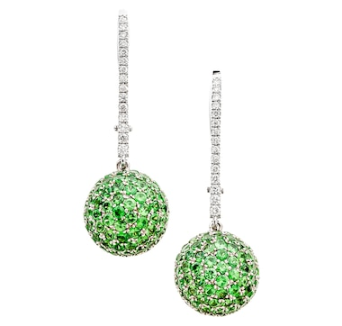 Estate Originals 14K White Gold Ball Design Drop-Style Earrings with Hinged Backs, Containing 188 Tsavorite Garnets and 30 Round Brilliant Cut Diamonds