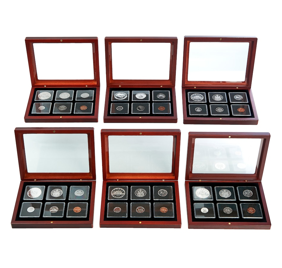 Image 658723.jpg , Product 658-723 / Price $749.50 , Six Select Gem Proof-Like Set Collection 1962–1967 in Mahogany Finish Wood Display Cases from Royal Canadian Mint on TSC.ca's Coins department