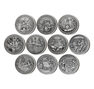 Set of 10 $5 Two-Ounce Fine-Silver Coins - Adventures of Odysseus