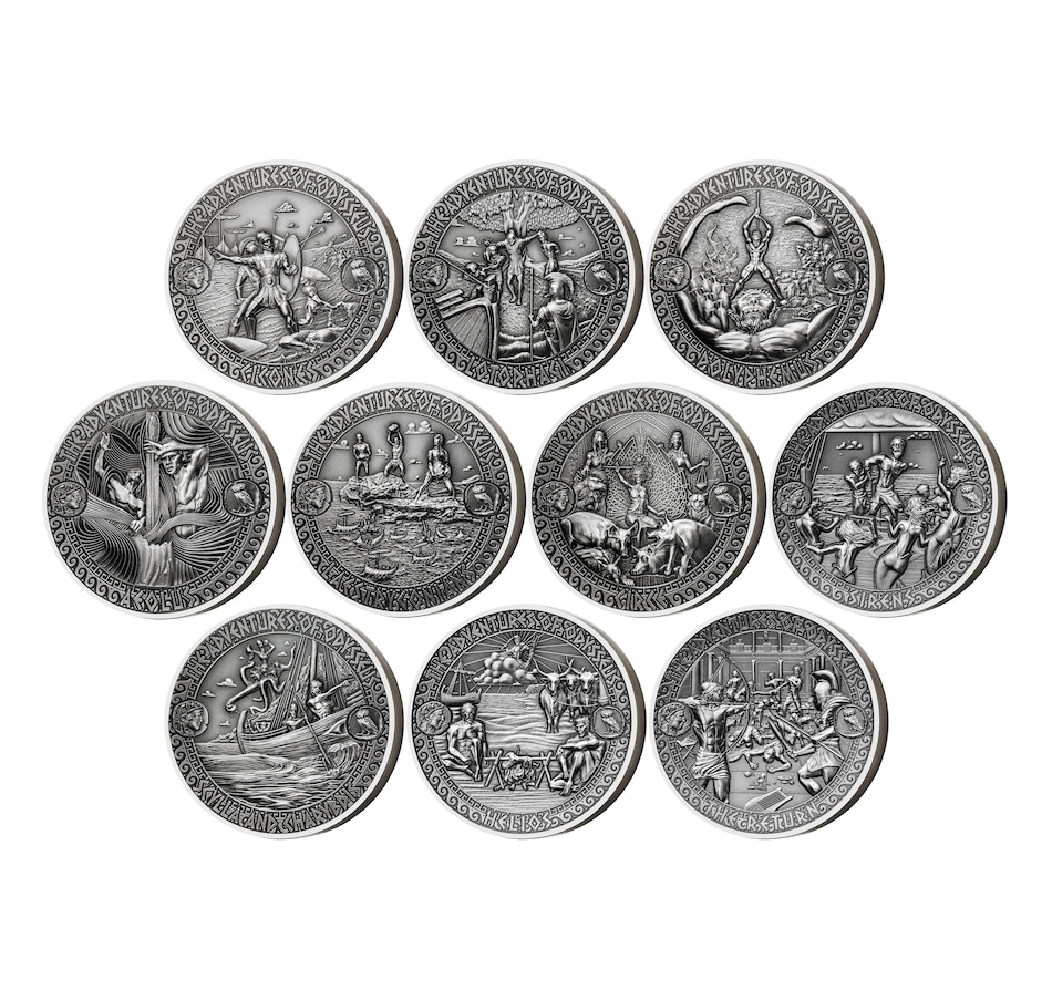 Image 658734.jpg , Product 658-734 / Price $1,899.95 , Set of 10 $5 Two-Ounce Fine-Silver Coins - Adventures of Odysseus from Canadian Coin & Currency on TSC.ca's Coins department