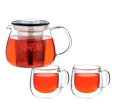 Grosche Waterloo Teapot with Fresno Glasses Bundle