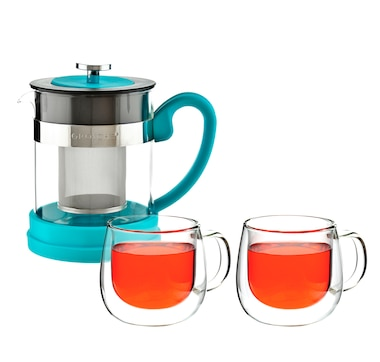 Grosche Valencia Teapot with Fresno Glasses Bundle