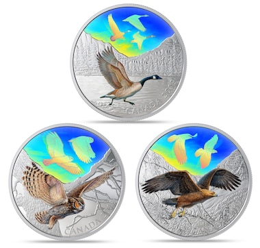 Complete Set of Three 2019 Two Ounce $30 Fine Silver Coins Majestic Birds in Motion