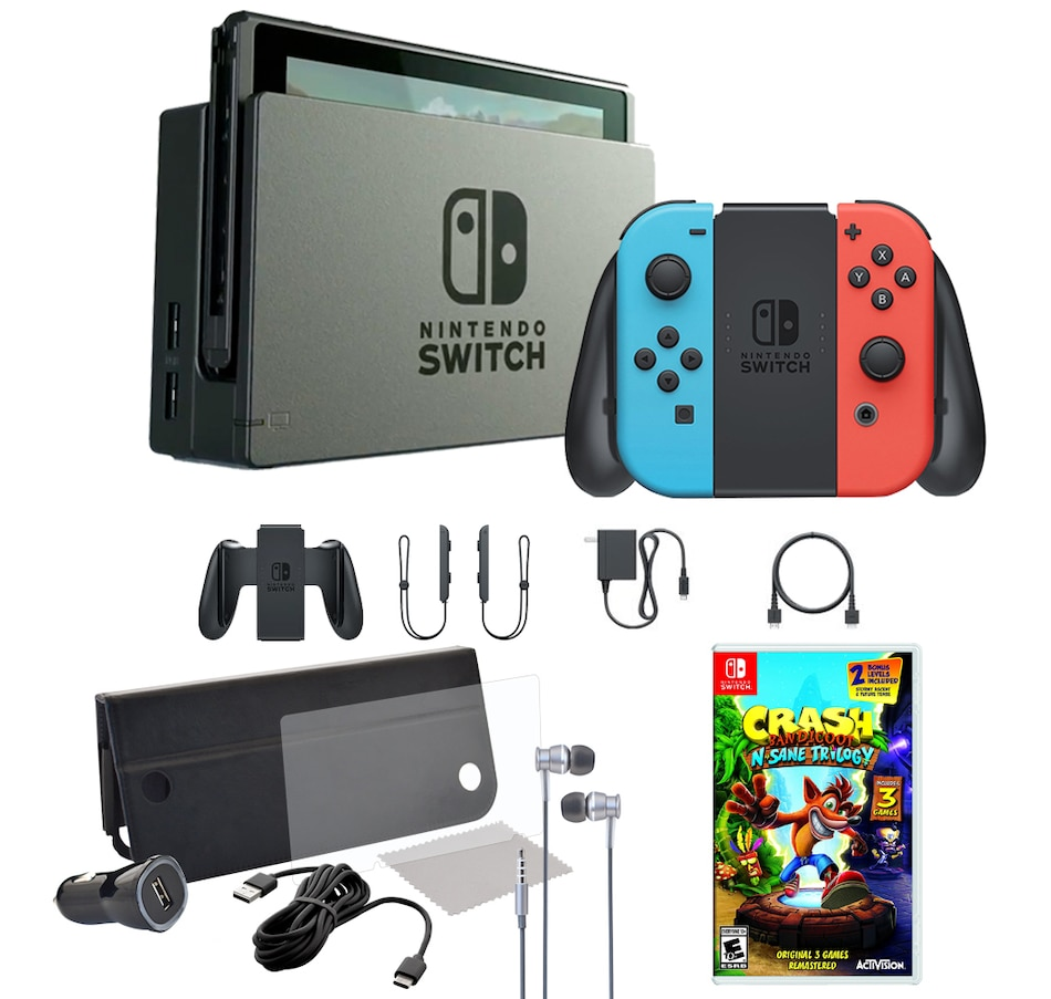 Image 661482.jpg , Product 661-482 / Price $549.99 , Nintendo Switch Console with Neon Red and Neon Blue Joy-Cons, Crash Bandicoot Trilogy and Accessories from Nintendo on TSC.ca's Electronics department