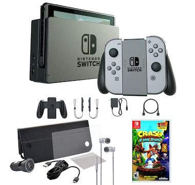 Nintendo Switch Console with Grey Joy-Cons, Crash Bandicoot Trilogy and Accessories