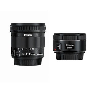 Canon Travel Lens Bundle with EF 50 mm + EF-S 10-18 mm Lens