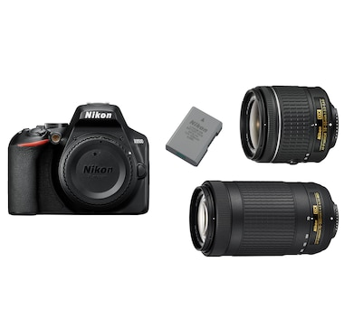 Nikon D3500 DSLR Camera Bundle with 18-55mm/70-300mm Dual Lens and Extra Battery