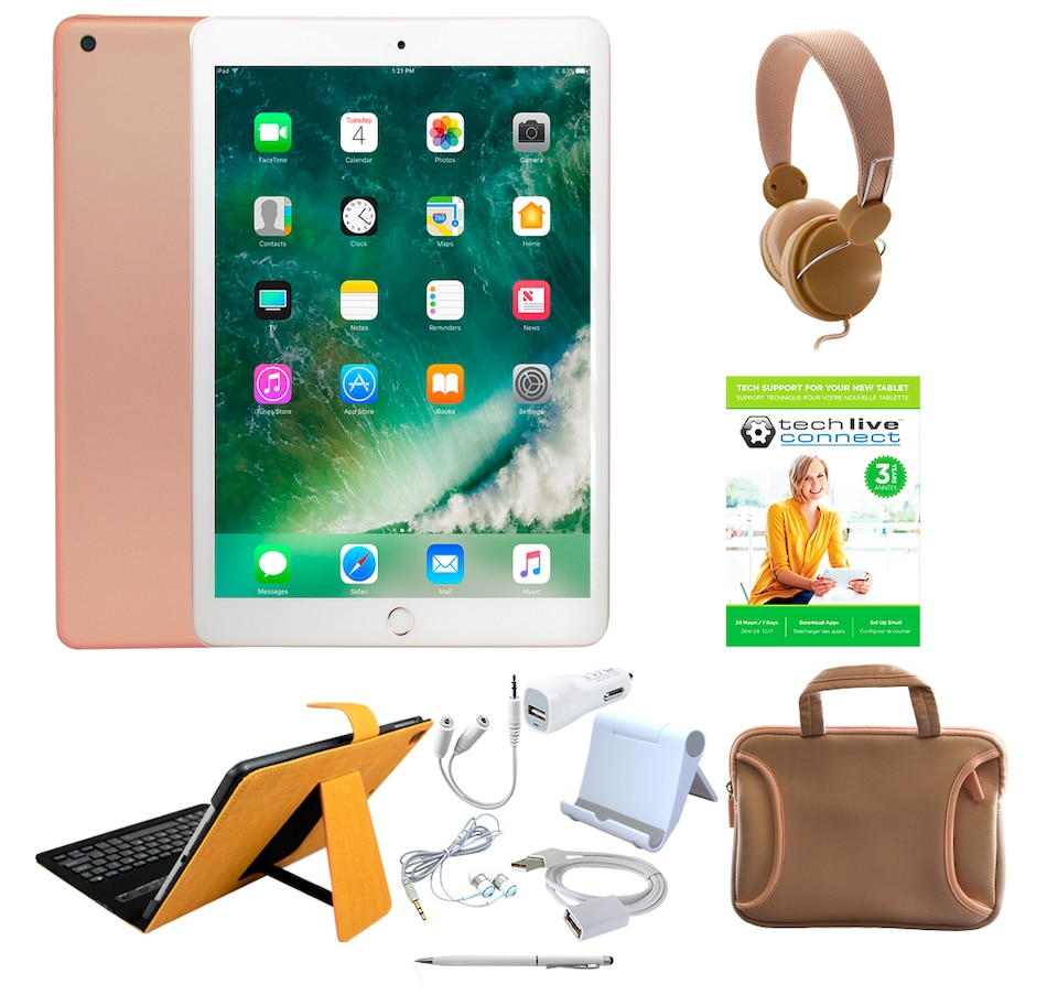 """Image 662001_GOLDS.jpg , Product 662-001 / Price $939.38 - $1,059.97 , Apple iPad 9.7"""" 32GB or 128GB Tablet Bundle with 3-Year Tech Support from Apple on TSC.ca's Electronics department"""