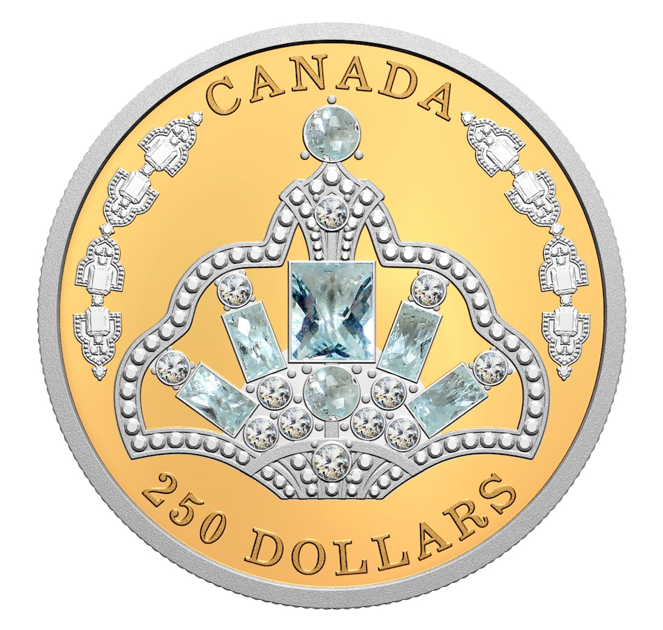 Image 662420.jpg , Product 662-420 / Price $7,299.95 , 2020 $250 Pure Gold Coin Her Majesty Queen Elizabeth II's Brazilian Aquamarine Tiara from Royal Canadian Mint on TSC.ca's Coins department