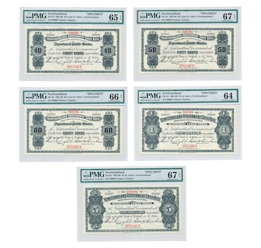 "Set of Five Specimen Notes 1906 ""St. John's"" Newfoundland - 40¢, 50¢, 80¢, $1 & $5"