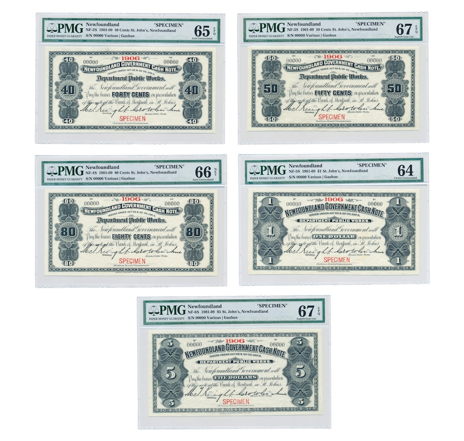 "Image 662486.jpg , Product 662-486 / Price $4,995.00 , Set of Five Specimen Notes 1906 ""St. John's"" Newfoundland - 40¢, 50¢, 80¢, $1 & $5 from Bank of Canada on TSC.ca's Coins department"