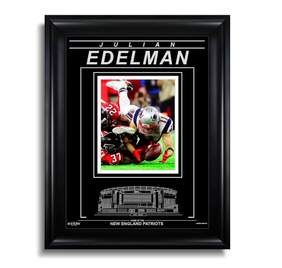 Image 663927.jpg , Product 663-927 / Price $119.99 , Julian Edelman New England Patriots - Action Super Bowl LI Catch  on TSC.ca's Sports department
