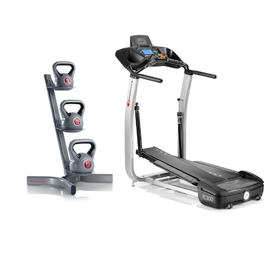 Bowflex TC100 Treadclimber with Mat and Kettlebells
