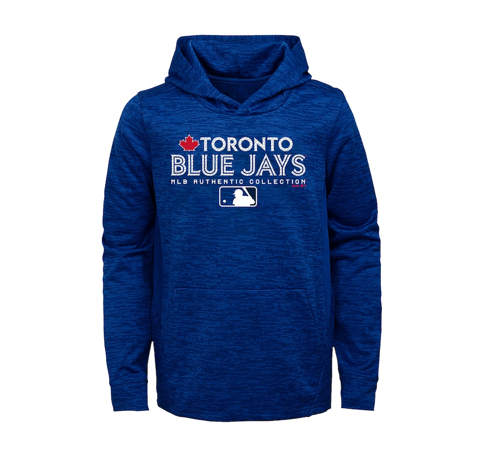 Image 664323.jpg , Product 664-323 / Price $69.99 , Toronto Blue Jays Youth Authentic Team Drive On-Field Hoodie from New Era on TSC.ca's Health & Fitness department