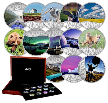 2017 $10 Fine Silver Coins Celebrating Canada's 150th: Complete 13-Coin Set in Custom Case