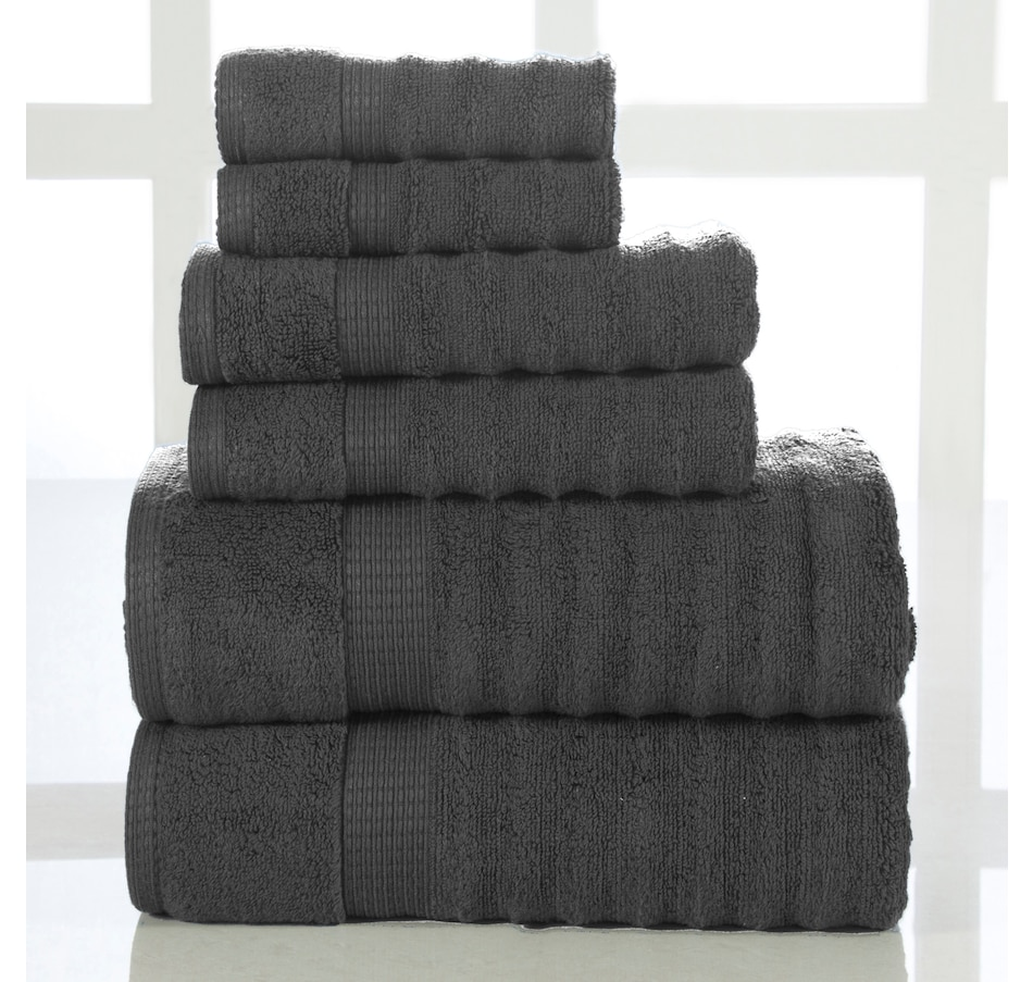 Image 665614_GRY.jpg , Product 665-614 / Price $119.99 , Aerosoft 100% Cotton Wavy 6-Piece Bath Towel Set  on TSC.ca's Home & Garden department