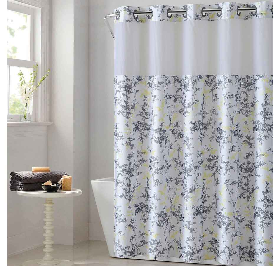 Image 665629.jpg , Product 665-629 / Price $51.99 , Hookless Floral Leaves Print Shower Curtain with Fabric Liner  on TSC.ca's Home & Garden department