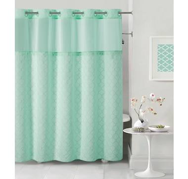 Hookless Mosaic Embroidery Shower Curtain with PEVA Liner
