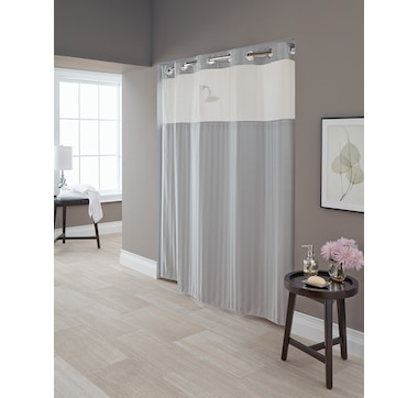 Hookless Park Ave Stripe Shower Curtain with PEVA Liner