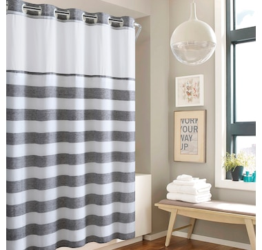 Hookless Yarn Dye Stripe Shower Curtain with Fabric Liner