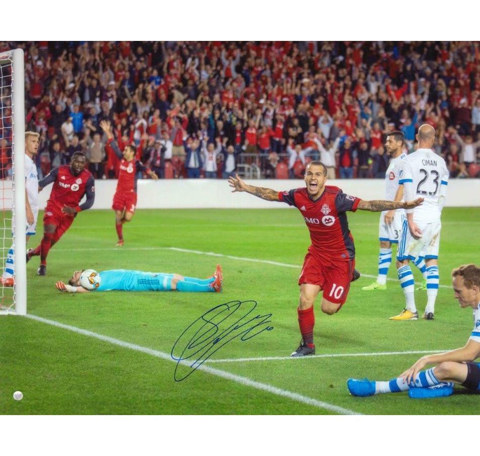 "Image 666006.jpg , Product 666-006 / Price $149.99 , Frameworth Sebastien Giovinco Signed 16"" x 20"" Unframed Toronto FC Celebration from Frameworth on TSC.ca's Sports department"
