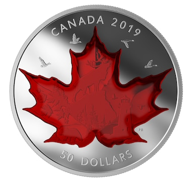 2019 Five-Ounce $50 Fine-Silver Coin Celebrating Canada's Icons