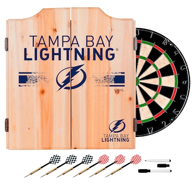 Tampa Bay Lightning Dart Cabinet Set with Darts and Board