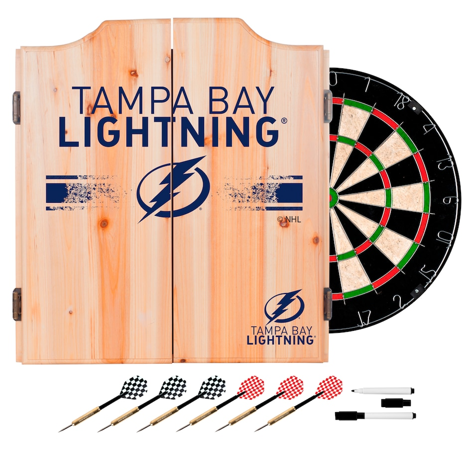 Image 667189.jpg , Product 667-189 / Price $199.99 , Tampa Bay Lightning Dart Cabinet Set with Darts and Board  on TSC.ca's Sports department