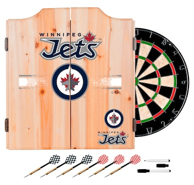 Winnipeg Jets Dart Cabinet Set with Darts and Board